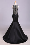Black Mermaid Sleeveless Beaded Satin Prom Dress, Long Evening Dresses N1199