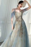 Unique V Neck Long Tulle Party Dress with Lace, Sexy Sleeveless Long Prom Gown N2103