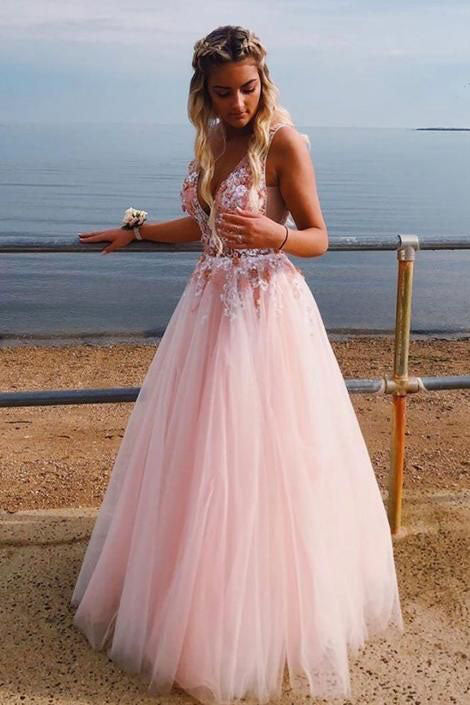 A Line Deep V Neck Sleeveless Tulle Prom Dress with Appliques,  Floor Length Party Dresses N2673