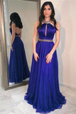 Royal Blue Floor Length Jewel Long Prom Dress with Beads, Sexy Backless Evening Dress