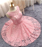 A Line Short Lace Homecoming Dress with Belt, Pink Short Ruched Prom Dress N928