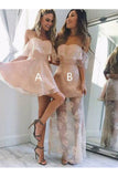 Cheap Off Shoulder Pearl Pink Lace Homecoming Dress,Sexy Lace Sweet 16 Dress N971