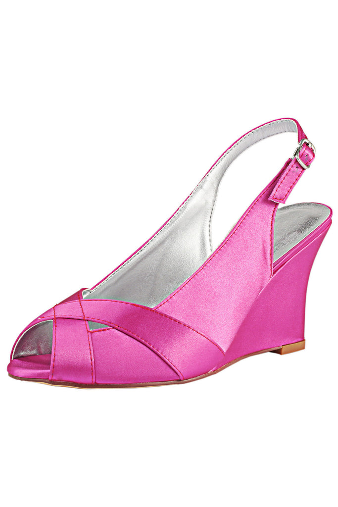 Fuchsia Wedge Wedding Shoes with Rhinestone, Peep Toe Fashion Wedding Party Shoes