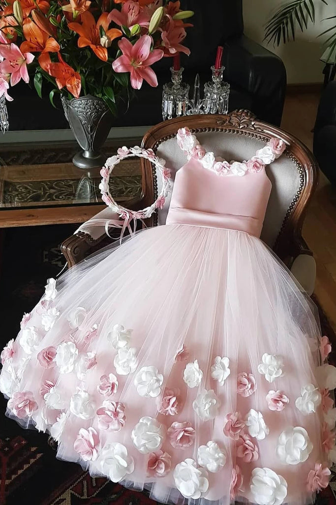 Cute Tulle Pink Flower Girl Dress With 3D Flowers, Puffy Long Flower Girl Dress with Flower F076