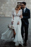 Floor Length Long Sleeves Sheer Neck Split Appliques Chiffon Beach Wedding Dress N2491