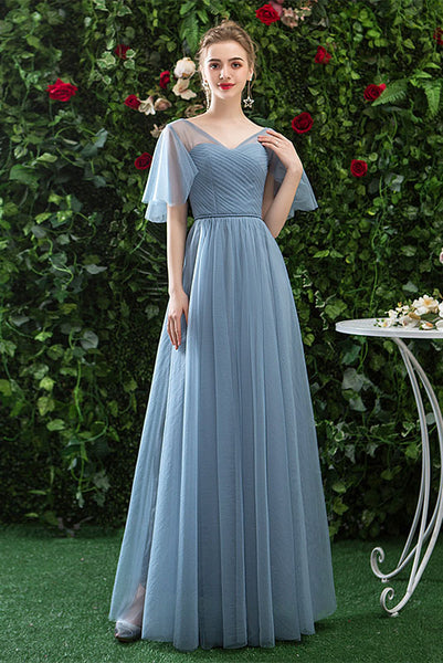 Cheap V Neck Tulle Long Prom Dress with Short Sleeves, A Line Bridesmaid Dresses N2321