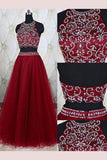 A-Line Sleeveless Burgundy Jewel Tulle Beading Floor-Length Two Piece Dresses,N748