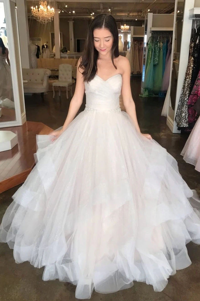 Off White Sweetheart Puffy Long Bridal Dress, Princess Wedding Gown N2682