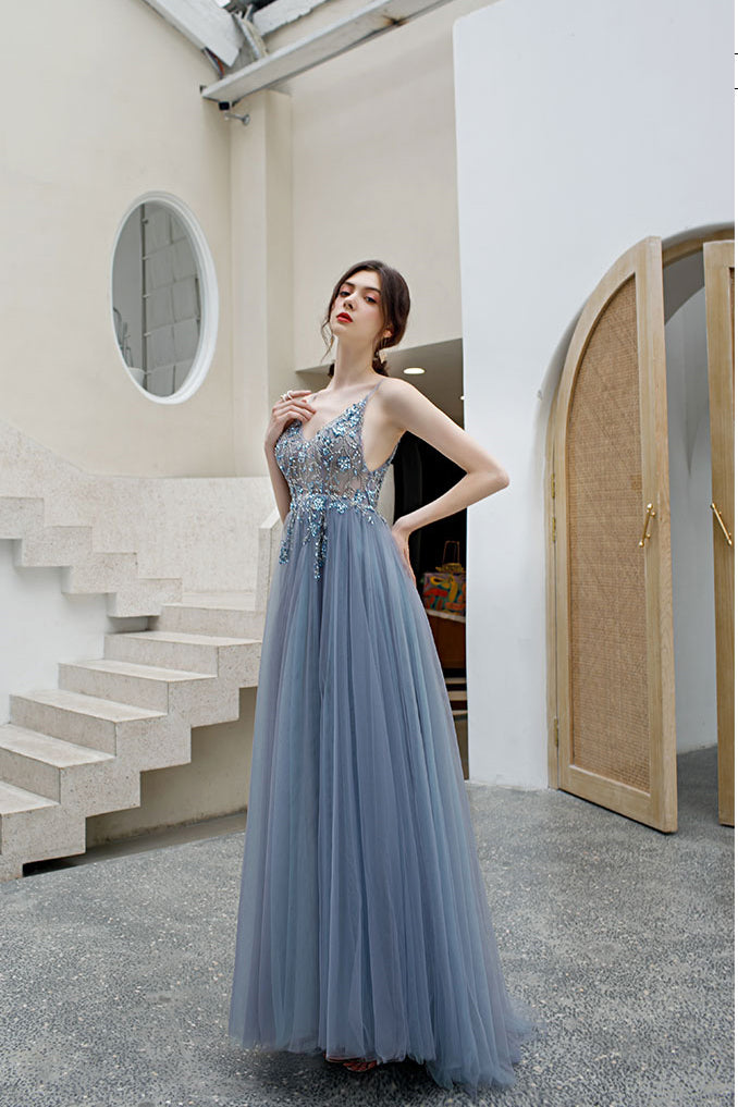 A Line Spaghetti Straps Tulle Prom Dress with Side Slit, Long Evening Dress with Beads N2664