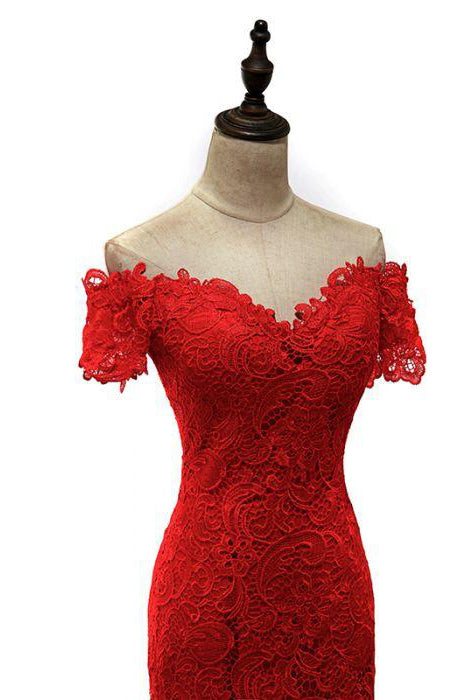 Red Off the Shoulder Mermaid Lace Prom Dresses, Sweep Train Long Evening Dresses N1193