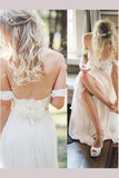 Simple Off the Shoulder Beach Wedding Dress with Beading Waist, Ivory Wedding Dress N1330