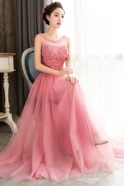 Pink Sleeveless Prom Dress with Flowers, A Line Floor Length Tulle Evening Dress N1775