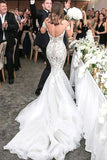 Charming Mermaid Style Off-the-Shoulder Sweep Train Lace Wedding Dress N2500