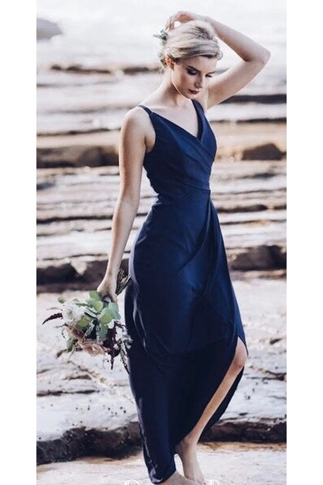 Simple Navy Blue Cheap Long Bridesmaid Dresses, Charming Hot Selling Prom Dresses N2369