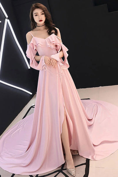 Spaghetti Straps Simple Pink Chiffon Long Prom Dress A Line Evening Dress with Ruffle N2094