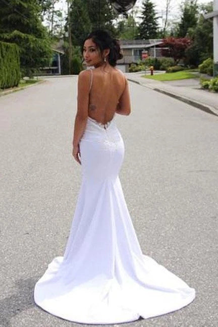 Spaghetti Straps Mermaid Wedding Dress with Lace Appliques, Sexy Backless Bridal Dresses N2508