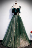 Spaghetti Straps Tulle Lace Green Prom Dress, Floor Length Lace Up Formal Dress N2446