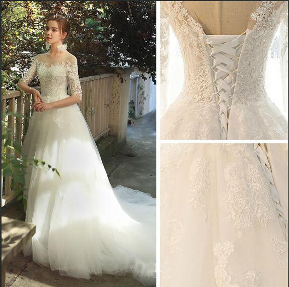 Romantic 3/4 Sleeves Illusion Neckline Lace Appliqued Wedding Dresses N2555