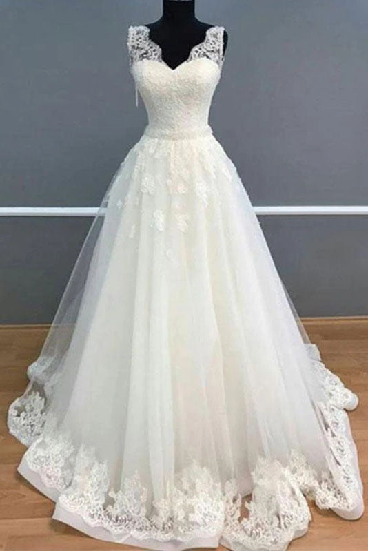 A Line V Neck Sleeveless Beach Wedding Dress with Lace, Ivory Unique Bridal Dress N2685