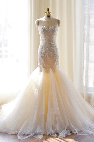 Gorgeous Ivory Sweetheart Tulle Mermaid Lace-Appliques Wedding Dress,Strapless Bridal Dress,N341