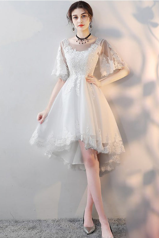 White Lace Short Party Dress High Low Tulle Homecoming Dress With Half Sleeves N1909