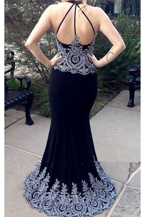Dark Navy Blue Mermaid Prom Dresses with Appliques, Charming Long Formal Dresses N2620