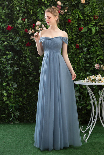 Cheap Off Shoulder Tulle Long Prom Dress with Short Sleeves,  Simple Bridesmaid Dresses N2322