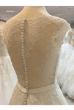 A Line Vintage Cap Sleeves Beaded Sashes Lace Wedding Dresses, Long Bridal Dress N831