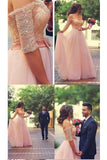 Shiny Pink Off the Shoulder Half Sleeves Sash Bow Beads Pearls Tulle Prom Dresses,N743