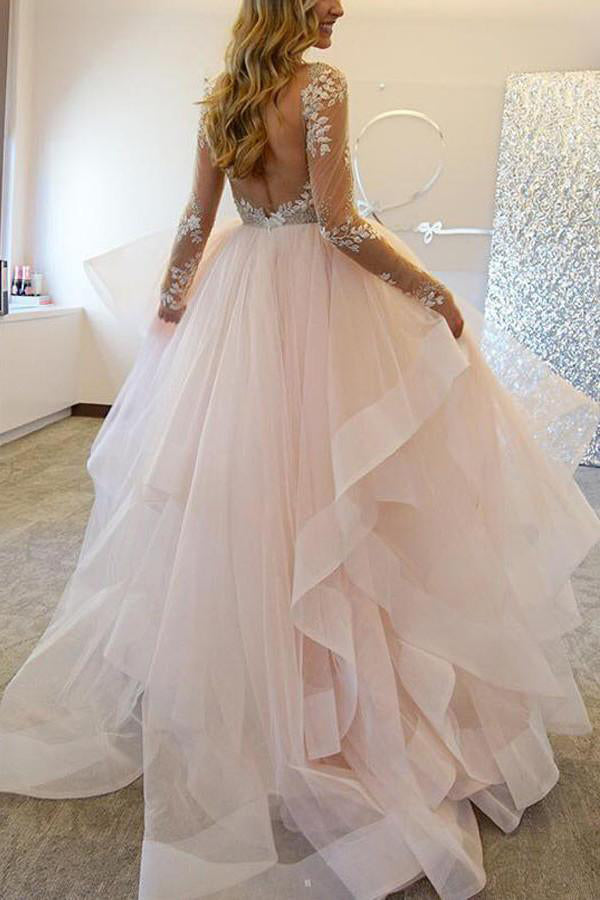 A-Line Long Sleeves Tulle Sheer Neck Wedding Dresses With Appliques,Sexy Bridal Gown,N343
