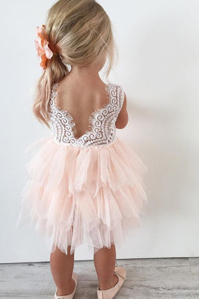 Adorable A-line Knee length Pink Tulle Flower Girl Dress with Lace Top,Backless Party Dress,F010