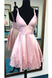 A-line Spaghetti Straps Pink Satin Homecoming Dress,Sweet 16 Dress,Short V neck Prom Dress,N297