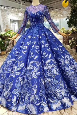 Blue Ball Gown Floral Prom Dress with Long Sleeves, Appliqued Long Quinceanera Dress N1638