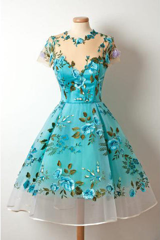 New Short Sleeves Unique Homecoming Dress,Appliqued Blue Short Prom Dresses,N204