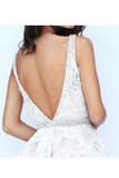 Mini Deep V-Neck Backless Lace Homecoming Dresses Party Dresses with Beading N850