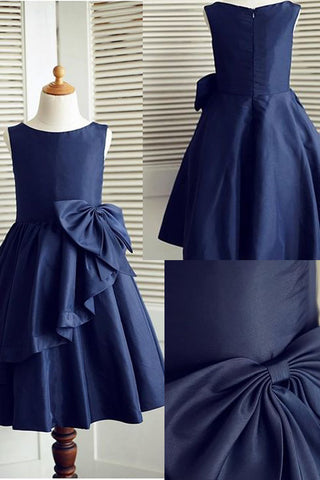 Navy Blue A-line Sleeveless Flower Girl Dress Pageant Dress with Bowknot,Cheap Child Dress,F009