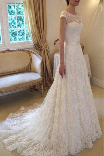 Cap Sleeve Wedding Dress,Lace Wedding Dresses With Belt,Long Bridal Dresses,Wedding Gown With Court Train,Ivory Beach Wedding Dress,N143