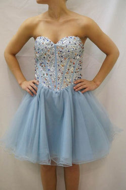 Sky Blue Strapless Homecoming Dress with Beads,Sweetheart Tulle Prom Dress with Sequins,N290