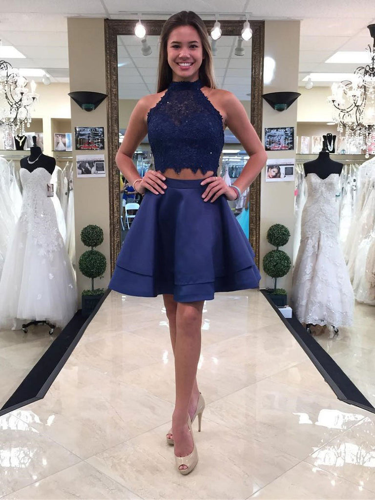 Princess Halter Two Piece Homecoming Dresses,Mini Sleeveless Lace Short Prom Dresses,N288