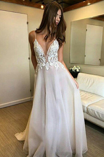 Deep V-neck Spaghetti Straps Lace Appliqued Beach Wedding Dress,Sexy Prom Dresses,N215