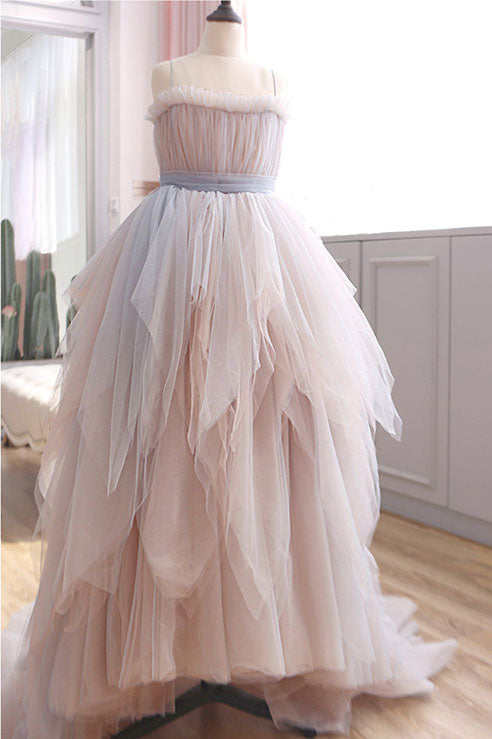 Vintage A Line Spaghetti Straps Blush Prom Dresses, Puffy Ruffles Party Dresses N2468