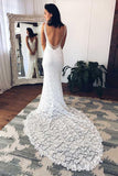 White Mermaid Deep V-Neck Court Train Split Backless Beach Lace Wedding Dress,N460
