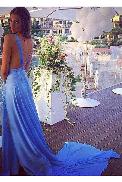 Blue Sleeveless V Neck Long Prom Dress,Split Court Train Evening Dresses,N736