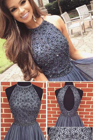 A-line Dark Gray Jewel Sleeveless Beaded Backless Tulle Homecoming Dress,Short Party Dress,N326
