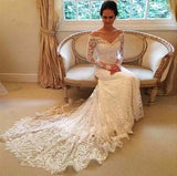 White Long Sleeves Off the Shoulder Mermaid Lace Beach Wedding Dress,Sexy Bridal Dresses,N340
