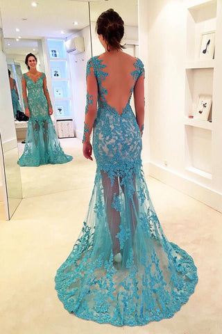 Gorgeous See-through Prom Dress,Mermaid Prom Dress,Sky Blue V-neck Prom Gown,Long Sleeves Prom Gowns,Prom Dress with Lace Appliques,Prom Dress with Tulle