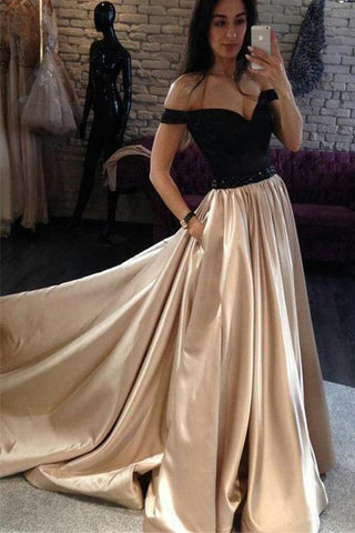A Line Off the Shoulder Long Prom Dress, Floor Length Sexy Evening Dress with Black Top