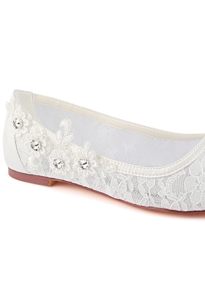 Ivory Flat Lace Wedding Shoes with Crystal, Wedding Party Shoes, Fashion Woman Shoes L-931