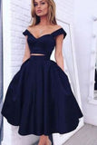 Two Pieces Off Shoulder Dark Navy Short Homecoming Dresses,Short Prom Gowns,N292