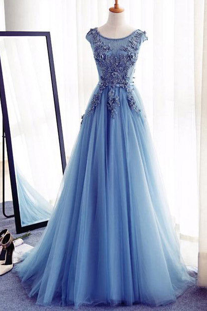 Appliques A-Line Sleeveless Ice Blue Tulle Prom Dresses Long with Rhinestone,Evening Dresses,N320